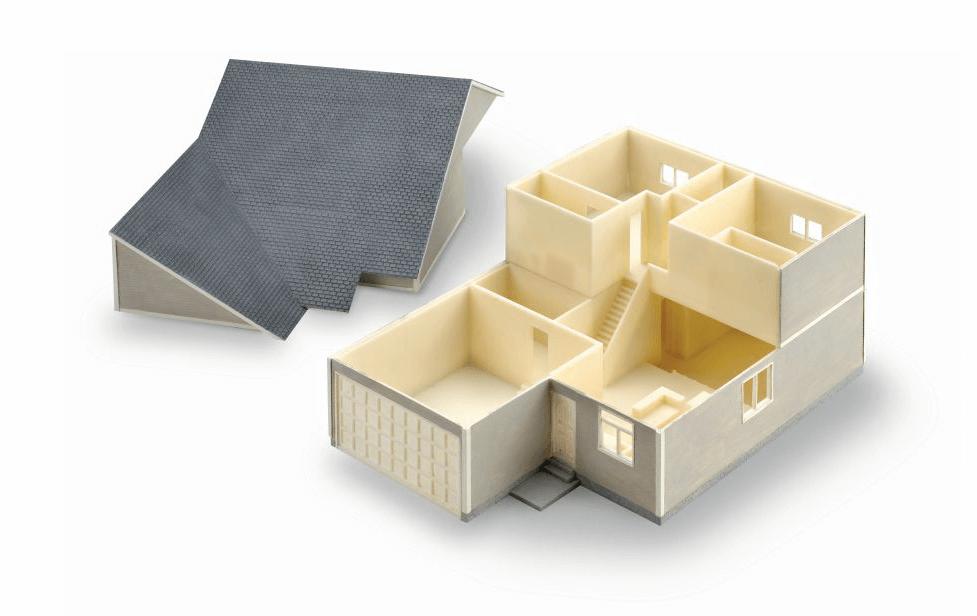 此建築概念模型以 ABS-M30 材料 3D 列印而成。